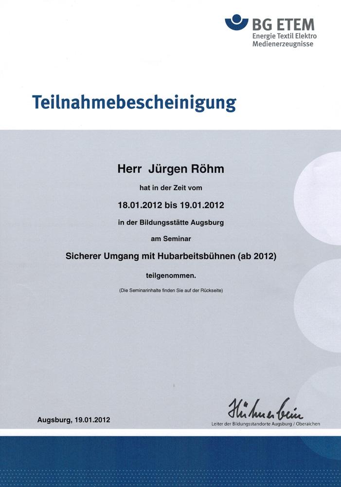 Qualifikation Sicherer Umgang Hubarbeitsbühnen, 2012