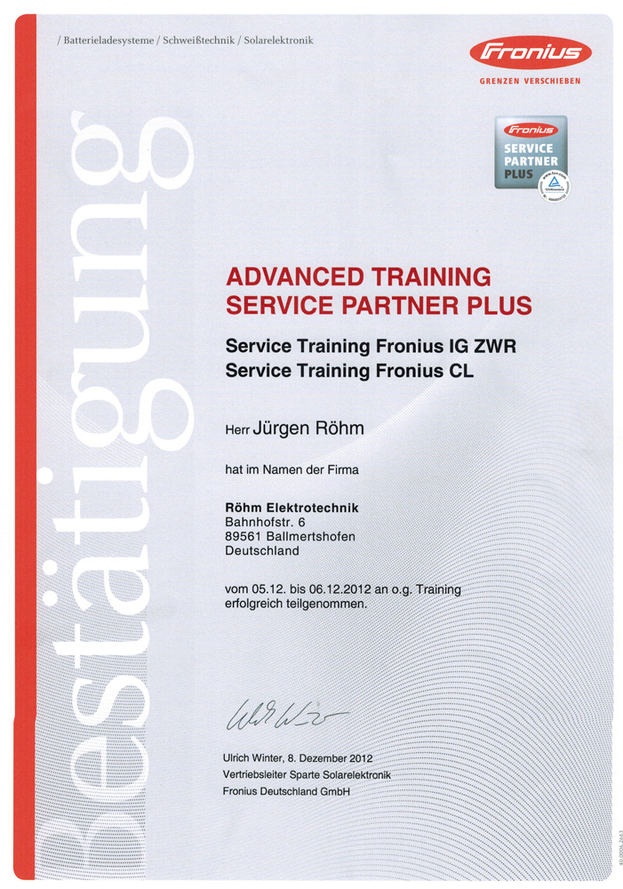 Advanced Training, Fronius Servicepartner Plus