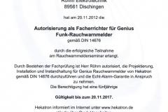 Genius Funk-Rauchwarnmelder, Facherrichter, 2017