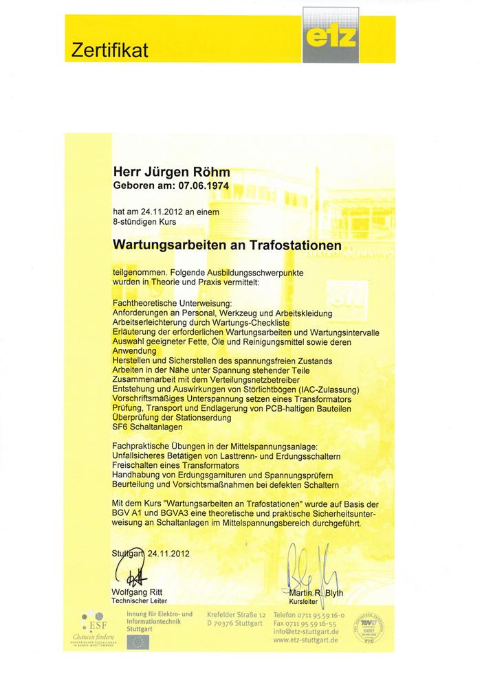 Qualifikation Wartungsarbeiten an Trafostationen