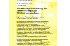 Schaltberechtigung für Mittelspannungsanlagen, Wiederholungsunterweisung, 2012